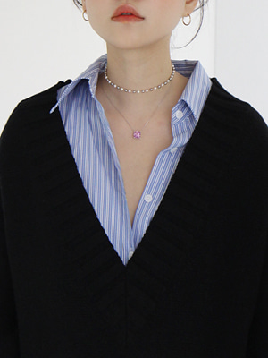 pearl choker&pink silver necklace