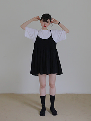 smocked mini dress(white,black!)