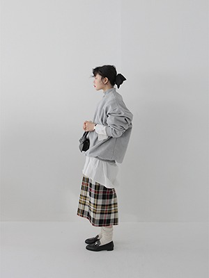 wool thick check skirt
