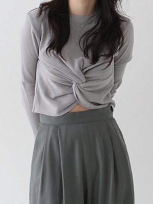 twist knit top(ivory,gray!)