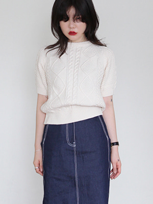 cable short sleeve pullover(ivory,yellow!)