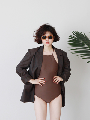 square neck swimsuit(brown,black!)